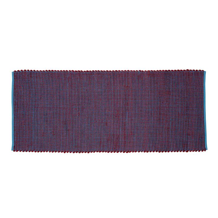 Gewebter Teppichläufer 80 x 200 cm, blau / bordeaux von Hübsch Interior