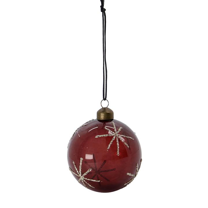 Glas Star Christbaumkugel von House Doctor in der Farbe bordeaux