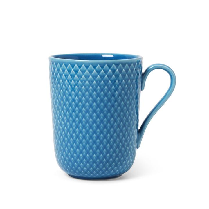Rhombe Becher mit Henkel 33 cl, blau von Lyngby Porcelæn
