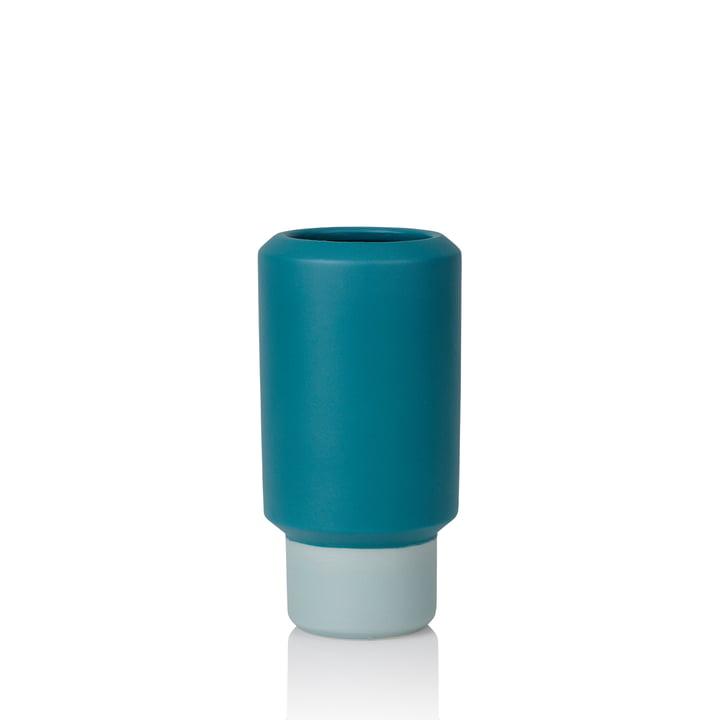 Fumario Vase H 16,5 cm von Lucie Kaas in petroleum blau / mint grün
