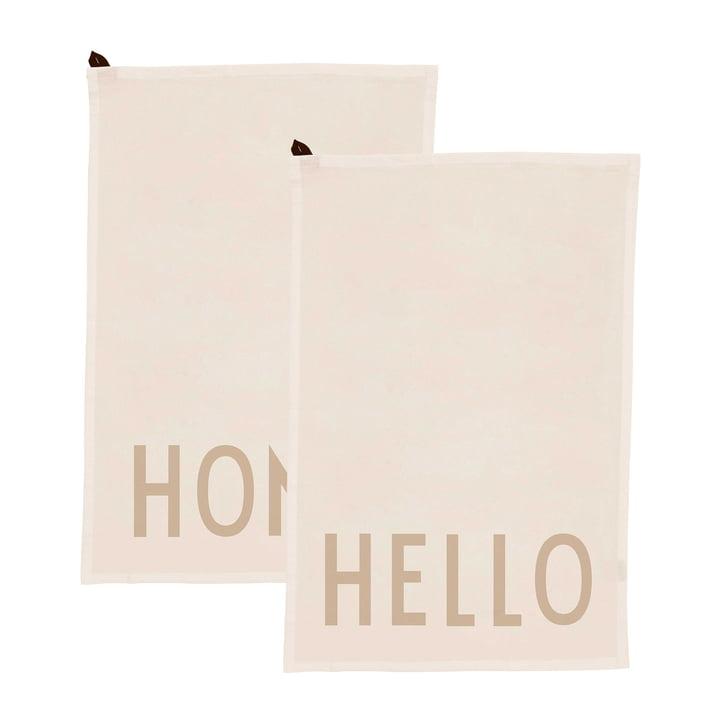 Favourite Geschirrtuch in Hello / Home, off-white (2er-Set) von Design Letters