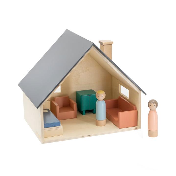 Puppenhaus mit Möbeln & Puppen von Sebra