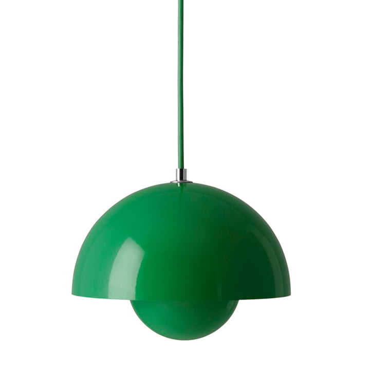 FlowerPot Pendelleuchte VP1 von &Tradition in der Farbe signalgrün