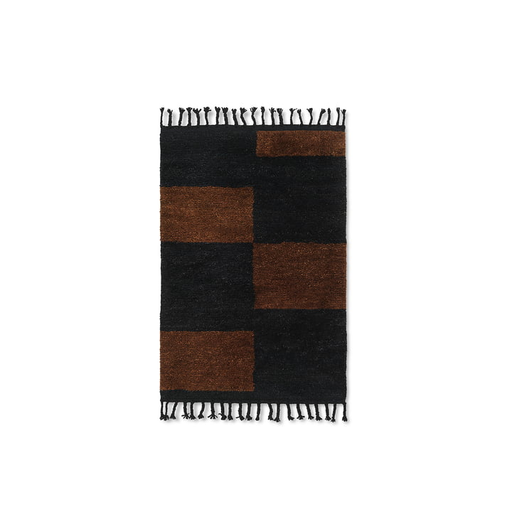 Mara Woll-Teppich von ferm Living in der Ausführung schwarz / chocolate