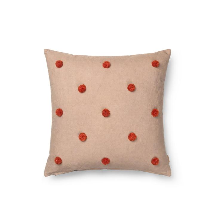 Dot Kissen von ferm Living in der Ausführung caramel / rot