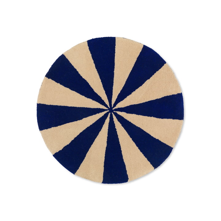 Arch Getufteter Teppich vom ferm Living in der Ausführung blau / off-white