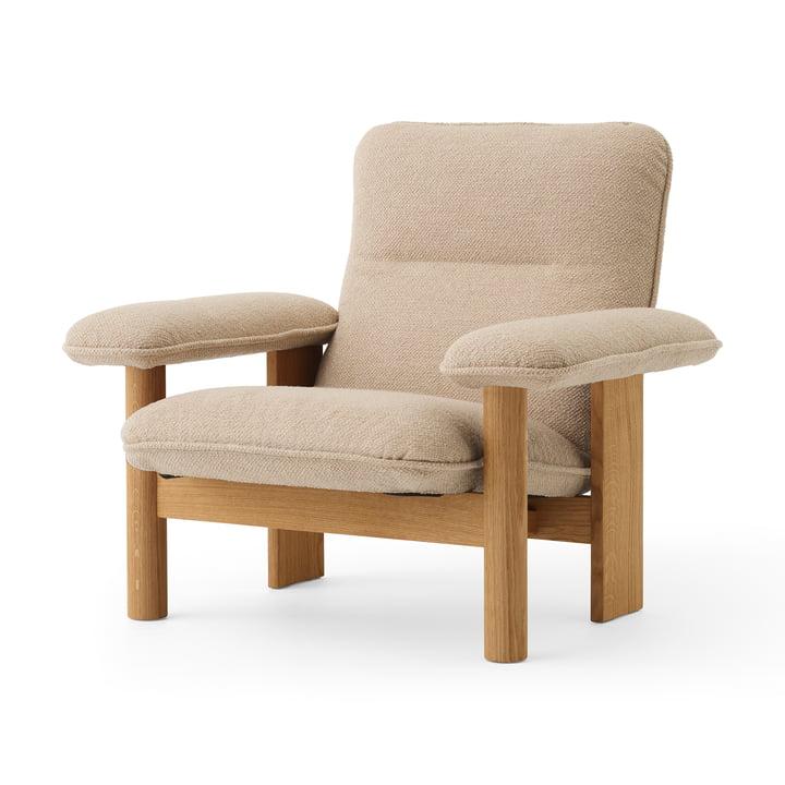 Brasilia Lounge Chair, Eiche natur / Bouclé beige von MENU