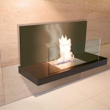 Wallflame II - Stahl, schwarz/ Glas, schwarz