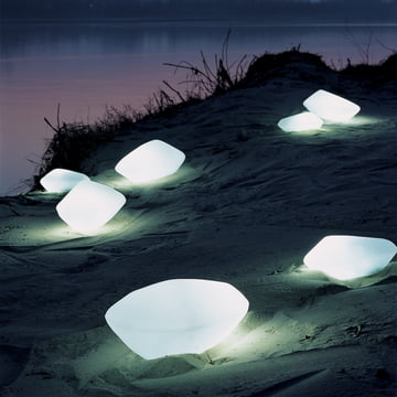 Oluce Stones Außenleuchte in Weiß
