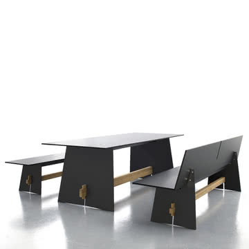 Conmoto - Tension Tisch, anthrazit/schwarz/teak