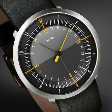 Botta Design - Duo 24 Armbanduhr, schwarz / Lederarmband