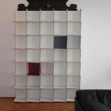 Jonas Jonas - Tri Modulregal, weiß, grau, rot - 5 x 7