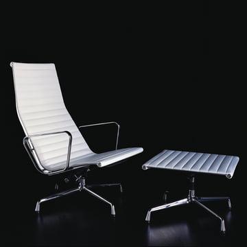 Aluminium Group EA 124 Liegesessel und EA 125 Hocker von Vitra in Leder Weiß