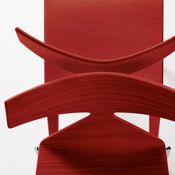 Arper - Saya Stuhl, rot - Detail, von oben