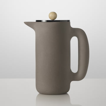 Muuto - Push Coffee Maker, steingrau, Holzgriff