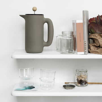 Muuto - Push Coffee Maker steingrau, im Regal