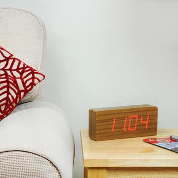 Gingko - Slab, LED rot, Uhrzeit