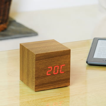 Gingko - Cube, Teak / LED rot