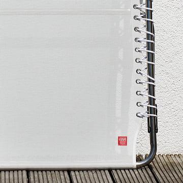 Fiam - Amigo XXL Dreibeinliege weiß, Detailaufnahme Fußende mit Logo