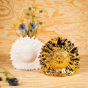 Areaware - Sunflower Vase, weiß, gold
