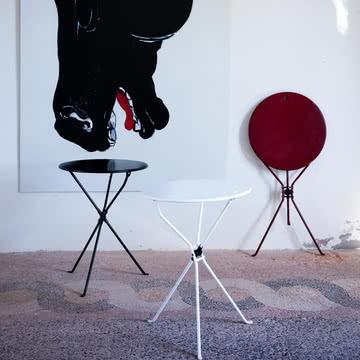 Zanotta - Cumano Beistelltisch, schwarz, weiß, rot