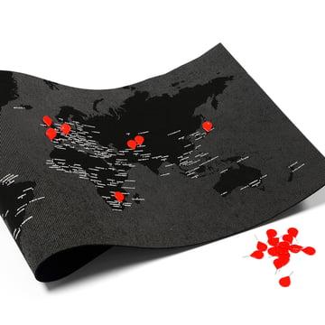 Palomar - Pin World, schwarz mit roten Reißzwecken