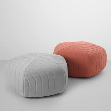 Muuto - Five Pouf, tangerine (Remix 632), light grey (Remix 123)