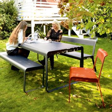 Bellevie Stuhl, Bank, Tisch und Bank mit Rückenlehne für den Außenbereich