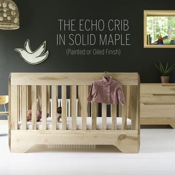 Echo Crib wird aus 100% massivem FSC-zertifiziertem Ahorn