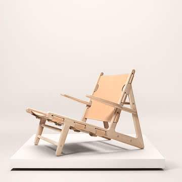 Fredericia - Hunting Chair, Eiche geseift / Sattelleder natur - Ambiente