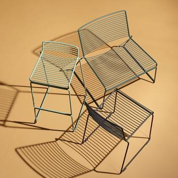 Der Hay - Hee Esstischstuhl, schwarz, der Lounge Chair, grün und der Barhocker, army