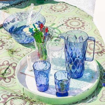 Wasserkaraffe, Gläser und Salatschale der Koziol Crystal Kollektion