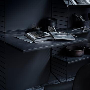 Arbeitsplatte 78 x 58 cm von String in Esche schwarz gebeizt