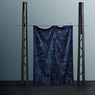 Die Fritz Hansen - Wolldecke byJaime Hayon in blau