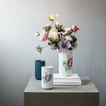 Lyngbyvase mit Blumendekor von Lyngby Porcelæn