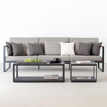 Das Röshults - Garden Easy 3-Sitzer Sofa, anthrazit / nature grey mit passendem Tisch