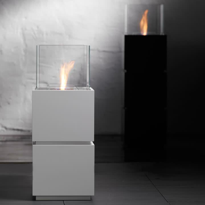 Safretti - Cube W1/B1 Feuerstelle - Schwarz und Weiß
