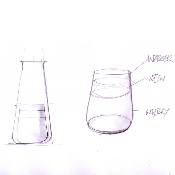 Die Auerberg - Glasserie - Skizze aller Gläser