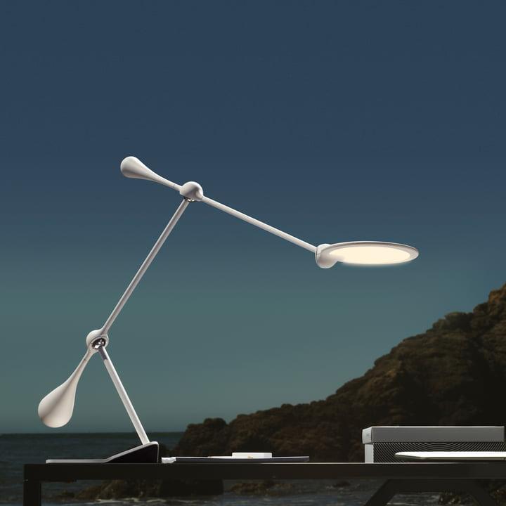 Klein & More - Trapeze LED Tischleuchte, groß, weiß