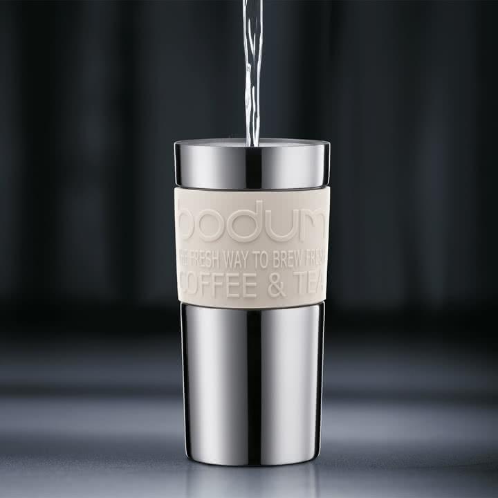 Bodum - Travel Press - Edelstahl, 0.35 L, creme - Zubereitung 2