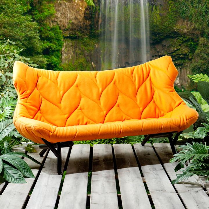 Kartell - Foliage Sofa, orange, schwarze Beine