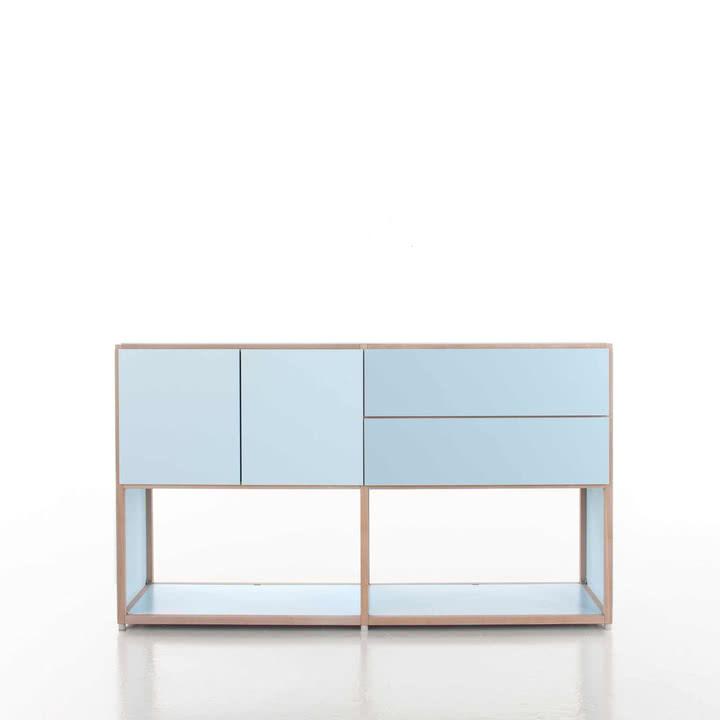 Flötotto - ADD Highboard, 2 Schubladen, 2 Türen, blau - Beispiel