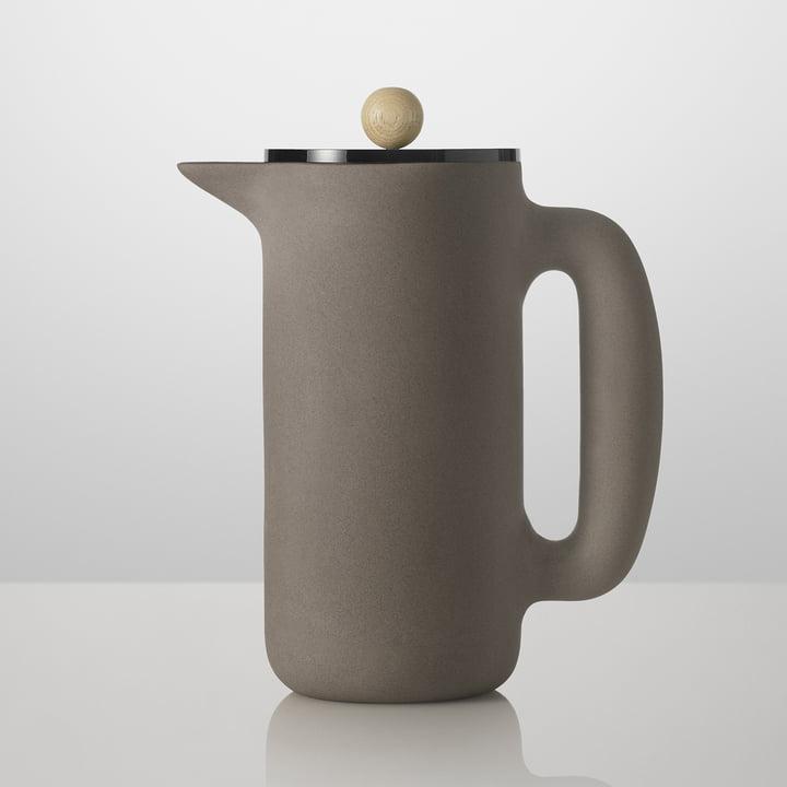 Muuto - Push Coffee Maker, steingrau, Holzgriff