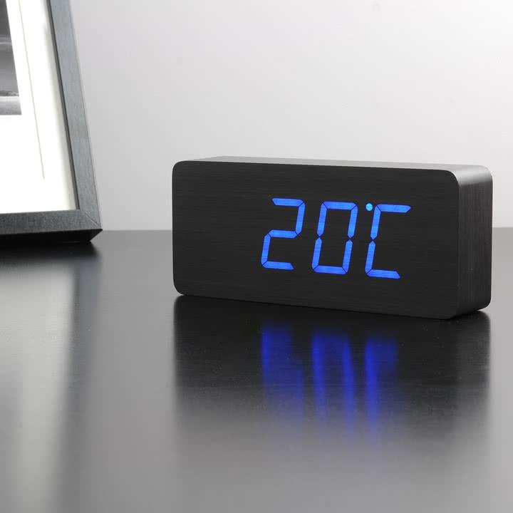 Gingko - Slab, schwarz / LED blau, Temperatur