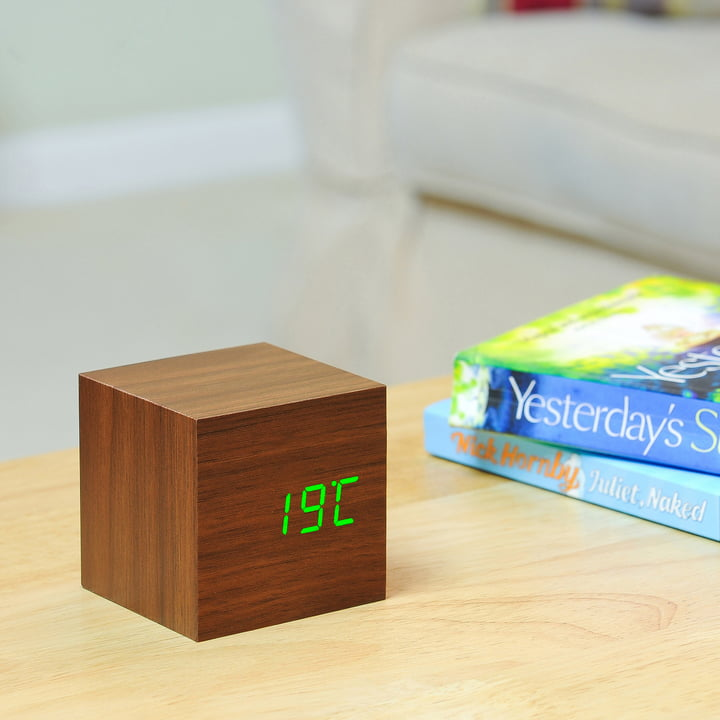 Gingko - Cube, walnuss / LED grün