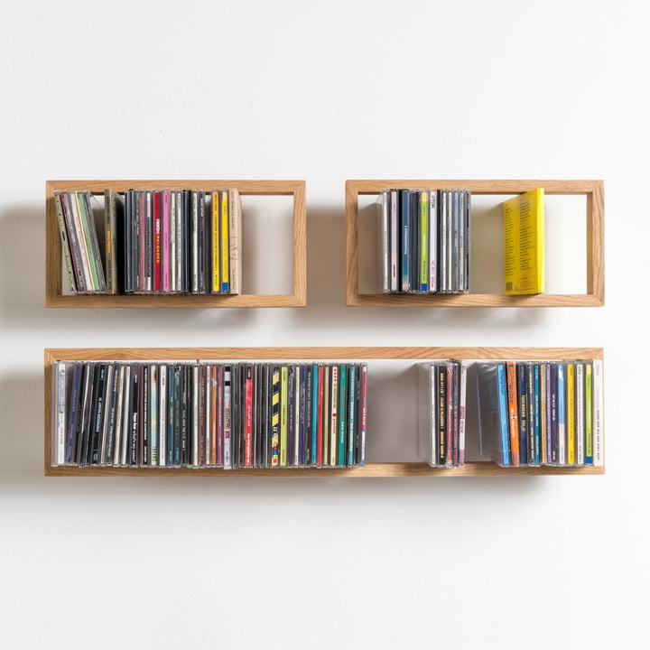 das schwebende cd regal b im shop. Black Bedroom Furniture Sets. Home Design Ideas
