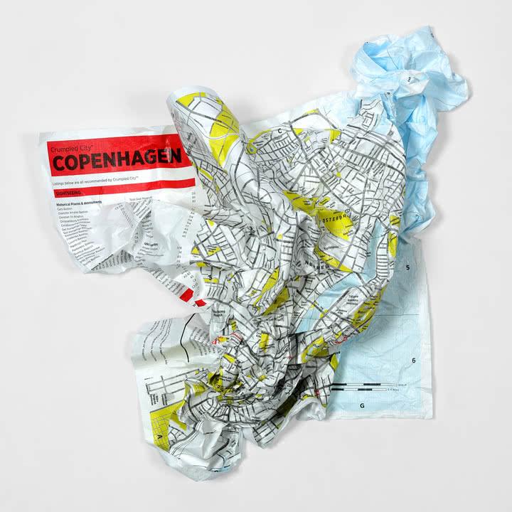 Palomar - Crumpled City Map - Kopenhagen