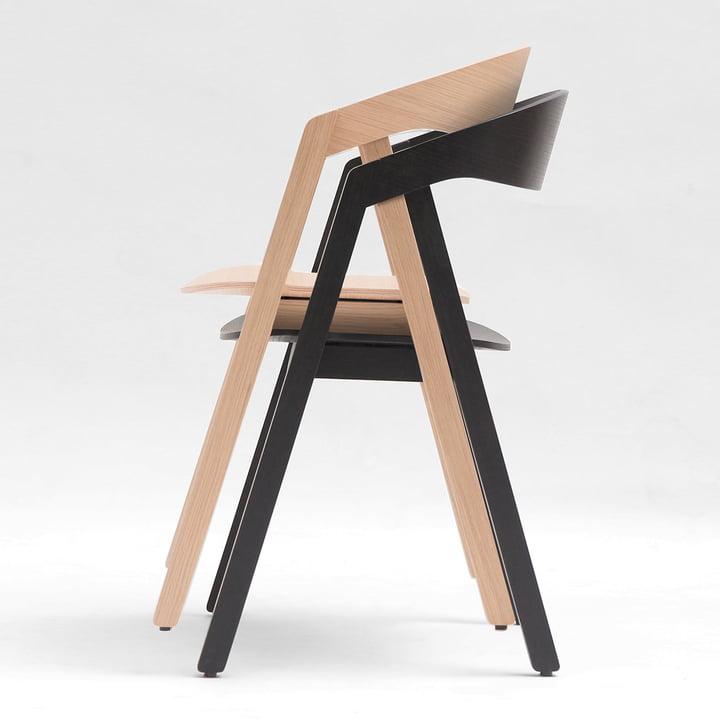 Maigrau - NARDO Stuhl, Eiche natur / Esche schwarz