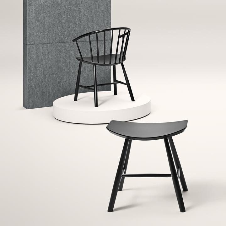 J63 Hocker mit J64 Stuhl von Fredericia