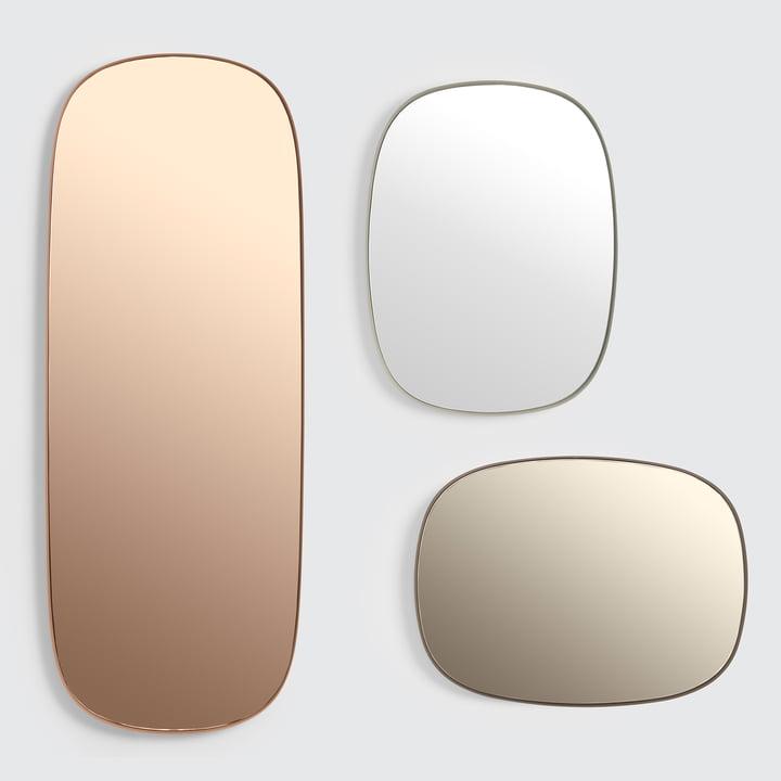 Der Framed Mirror von Muuto in groß, rosa / klein, taupe / klein, grau